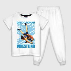 Пижама хлопковая детская Greco-roman wrestling цвета белый — фото 1