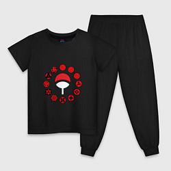 Пижама хлопковая детская Символы Наруто цвета черный — фото 1