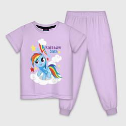 Пижама хлопковая детская Rainbow Dash цвета лаванда — фото 1