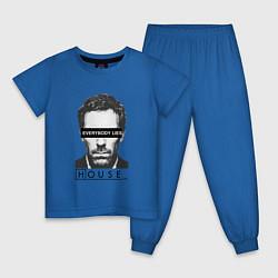 Пижама хлопковая детская Everyboy Lies цвета синий — фото 1