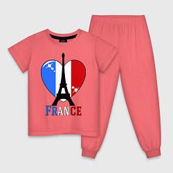 Пижама хлопковая детская France Love цвета коралловый — фото 1
