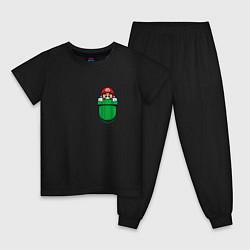 Пижама хлопковая детская Марио в кармане цвета черный — фото 1