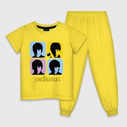 Пижама хлопковая детская The Beatles: pop-art цвета желтый — фото 1