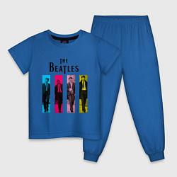 Пижама хлопковая детская Walking Beatles цвета синий — фото 1