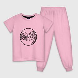 Пижама хлопковая детская Чужой & Хищник цвета светло-розовый — фото 1