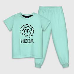 Пижама хлопковая детская Heda цвета мятный — фото 1