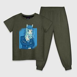 Пижама хлопковая детская Лошадь-бизнесмен цвета меланж-хаки — фото 1