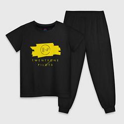 Пижама хлопковая детская 21 Top: Yellow Trench цвета черный — фото 1