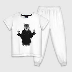 Пижама хлопковая детская Fuck wolf цвета белый — фото 1