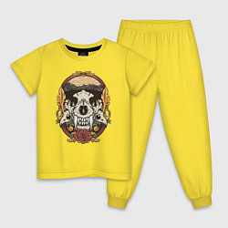 Пижама хлопковая детская Череп Тигра цвета желтый — фото 1
