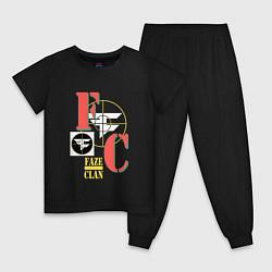 Пижама хлопковая детская FaZe Clan Crosshair цвета черный — фото 1