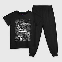 Пижама хлопковая детская Arctic Monkeys: I'm in a Vest цвета черный — фото 1