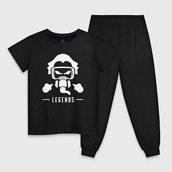 Пижама хлопковая детская Apex Legends: Bloodhound Mask цвета черный — фото 1