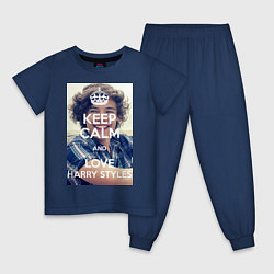 Пижама хлопковая детская Keep Calm & Love Harry Styles цвета тёмно-синий — фото 1