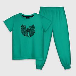 Пижама хлопковая детская WU TANG CLAN цвета зеленый — фото 1