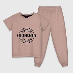 Пижама хлопковая детская Made in Georgia (сделано в Грузии) цвета пыльно-розовый — фото 1