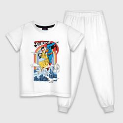Пижама хлопковая детская Superman цвета белый — фото 1