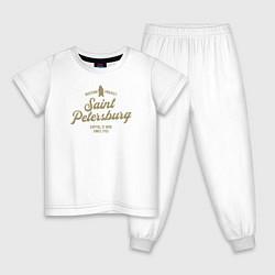 Пижама хлопковая детская Санкт-Петербург Gold Classic цвета белый — фото 1