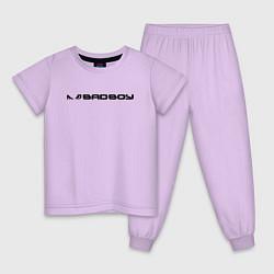 Пижама хлопковая детская BADBOY цвета лаванда — фото 1