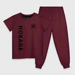 Пижама хлопковая детская NARUTO HOKAGE НА СПИНЕ цвета меланж-бордовый — фото 1