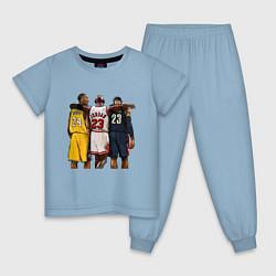 Пижама хлопковая детская Bryant, Jordan, James цвета мягкое небо — фото 1