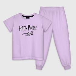 Пижама хлопковая детская Гарри Поттер цвета лаванда — фото 1