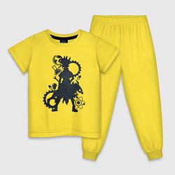 Пижама хлопковая детская Доктор Стоун цвета желтый — фото 1