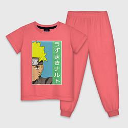 Пижама хлопковая детская Наруто цвета коралловый — фото 1