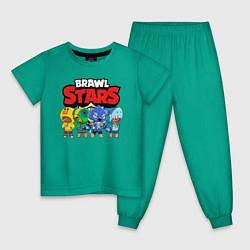 Пижама хлопковая детская BRAWL STARS цвета зеленый — фото 1