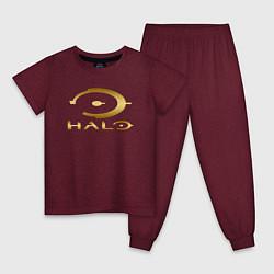 Пижама хлопковая детская HALO цвета меланж-бордовый — фото 1