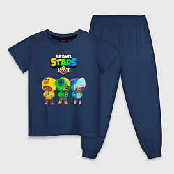 Пижама хлопковая детская BRAWL STARS LEON цвета тёмно-синий — фото 1