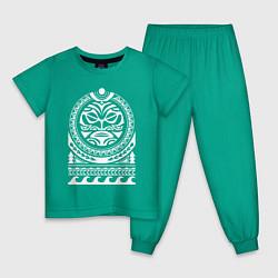 Пижама хлопковая детская Солнце и скат в полинезия цвета зеленый — фото 1