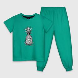 Пижама хлопковая детская Ананас Моргенштерна цвета зеленый — фото 1