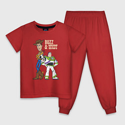 Пижама хлопковая детская Buzz&Woody цвета красный — фото 1
