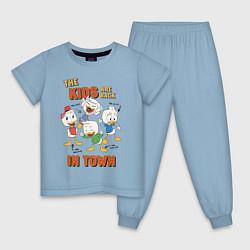 Пижама хлопковая детская The Kids are back цвета мягкое небо — фото 1
