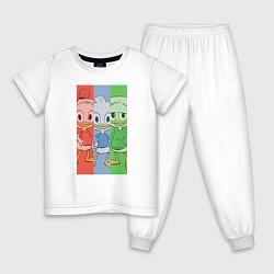Пижама хлопковая детская Вилли, Билли, Дилли цвета белый — фото 1