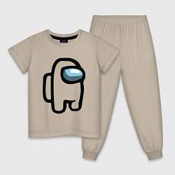 Пижама хлопковая детская AMONG US цвета миндальный — фото 1