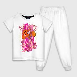 Пижама хлопковая детская Nemos Surf School цвета белый — фото 1
