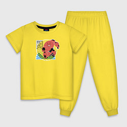 Пижама хлопковая детская Бэймакс цвета желтый — фото 1