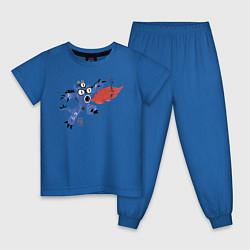 Пижама хлопковая детская Fred цвета синий — фото 1