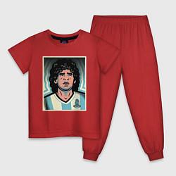 Пижама хлопковая детская Maradona Аргентина цвета красный — фото 1