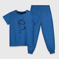Пижама хлопковая детская Лошадь в волнах цвета синий — фото 1