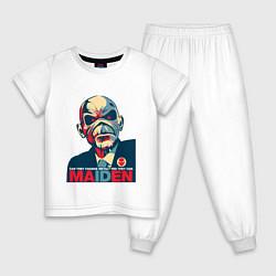Пижама хлопковая детская Iron Maiden eddie цвета белый — фото 1