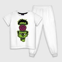 Пижама хлопковая детская Зомби на прицеле цвета белый — фото 1