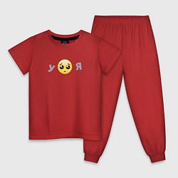 Пижама хлопковая детская Еще позлись пожалуйста цвета красный — фото 1