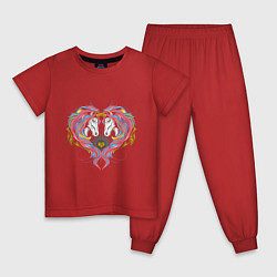 Пижама хлопковая детская Лошадь в любви цвета красный — фото 1