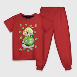 Пижама хлопковая детская Суйка цвета красный — фото 1