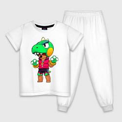 Пижама хлопковая детская Леон Динозавр цвета белый — фото 1