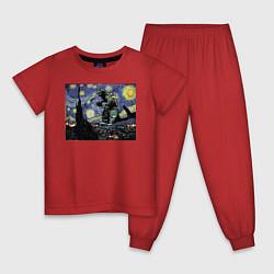 Пижама хлопковая детская Годзилла Ван Гога цвета красный — фото 1