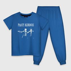 Пижама хлопковая детская Томас Шелби и Артур Шелби в стиле криминального чт цвета синий — фото 1